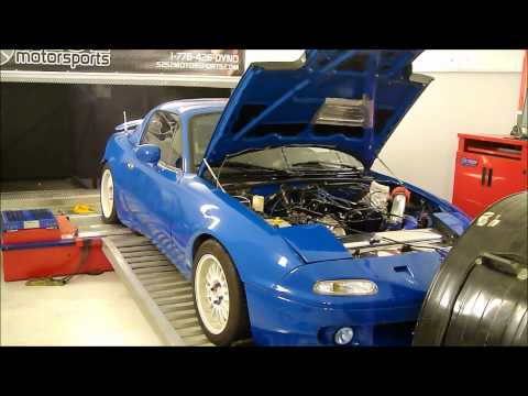 Turbo Charged 1990 Mazda Miata 14 psi 263HP dyno