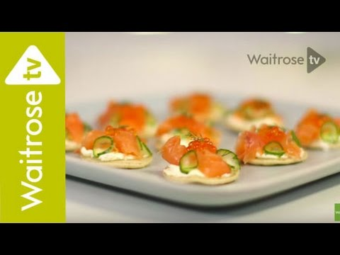 Heston's Smoked salmon blinis with soured cream butter & pickled cucumber - Waitrose