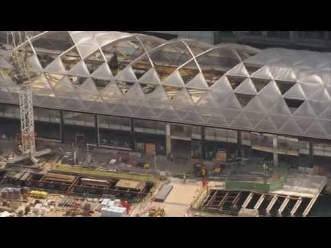 Crossrail: Canary Wharf Station - bird's eye view of roof above Crossrail Canary Wharf station