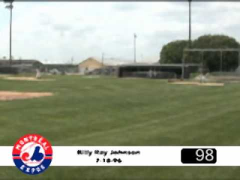 Holy Cow! I remember hearing that this guy, Billy Ray Rojo Johnson, worked out for the Expos back in the day. Look at this video, he hit 100 mph on the gun. ...
