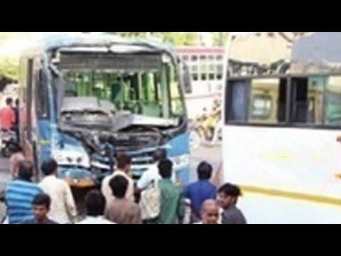 Vejalpur Breaking AMTS Bus Glass, Ahmedabad