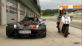 Fifth Gear ktm crossbow RR vs ktm RC8R.Tiff Needell vs Martin Bauer
