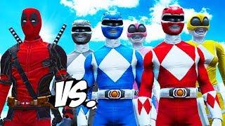 DEADPOOL VS POWER RANGERS - RED, BLUE, BLACK, YELLOW, PINK RANGERS VS DEADPOOL