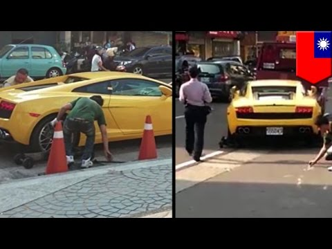 Lamborghini sports car towed for funny bad parking in the red zone