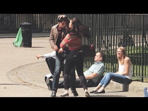 People Watch & Laugh When Woman Is Seen Beating Up Man -- Shocking Prank Video video