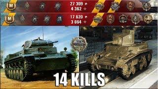 14 фрагов ПЕСОЧНЫЙ БЕСПРЕДЕЛ M2 Light Tank и Pz.Kpfw. I Ausf. C WOT герой Расейняя