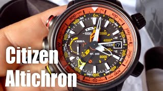 Citizen Eco-Drive Promaster Altichron solar compass watch unboxing and review BN5035-02F