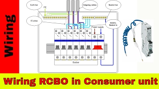 How to wire RCBO in consumer unit (UK). RCBO wiring.