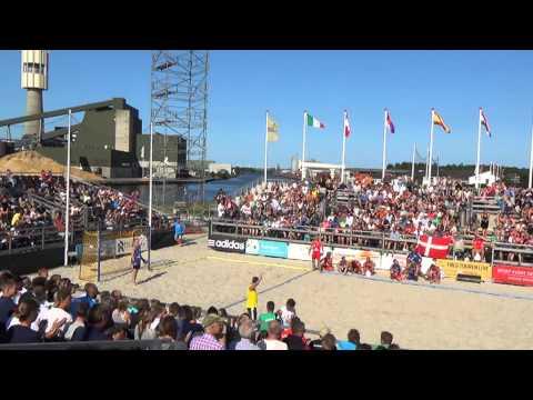 Dania-Polska (1-2) Mistrzostwa Europy W Piłce Ręcznej Plażowej,Randers 2013 (seria Shoot-out)