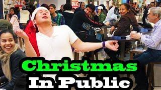 SINGING IN PUBLIC - CHRISTMAS SONGS!!  (JUSTIN BIEBER, ARIANA GRANDE, MARIAH CAREY and MORE!)