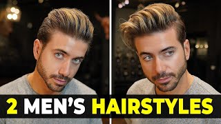2 EASY MEN'S HAIRSTYLES | Messy & Classic Quiff Men's Haircut | Alex Costa