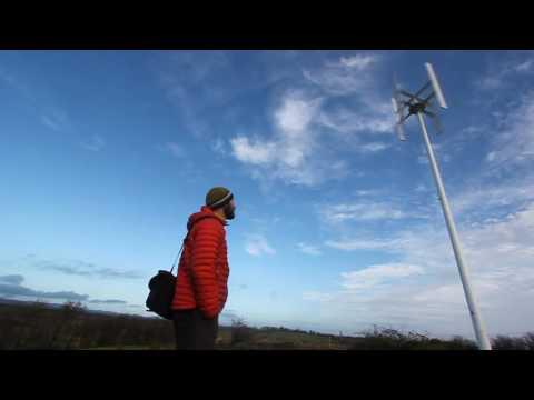 Vertical Axis Wind Turbine domestic installation Ireland 3kW nominal power. 5kW peak