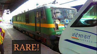 RARE! Engineless VANDE BHARAT EXPRESS departs behind an ENGINE!    2nd Rake Of Train-18!
