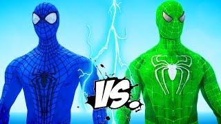 The Amazing Blue Spiderman vs Green Spiderman