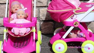 4 Baby Annabell Dolls & Princess Dolls Pram and Stroller- Little girl Pretend Play with Baby Dolls