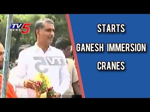 Harish Rao Starts Ganesh Immersion Cranes at Tankbund | TV5 News