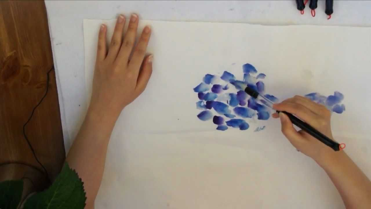 Blue Hydrangea Watercolor Doodle On Cotton Xuan Rice Paper