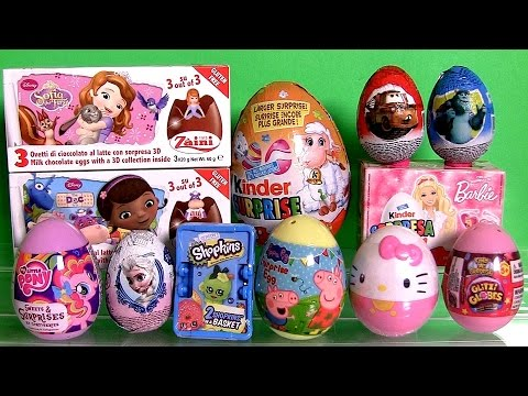 New Surprise Eggs Kinder My Little Pony, Shopkins, Princess Sofia, Glitzi Globes, Peppa Pig, Frozen