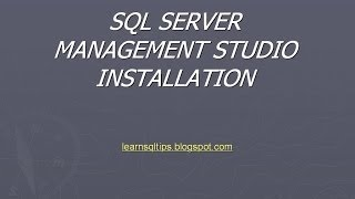 sql server management studio installation