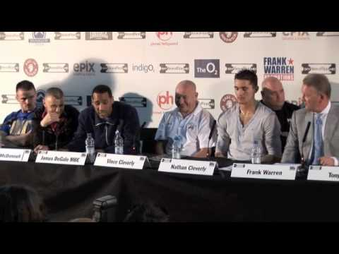 UNCUT -  JAMES DeGALE V GEORGE GROVES (O2 PRESS CONFERENCE) FOR iFILM LONDON.