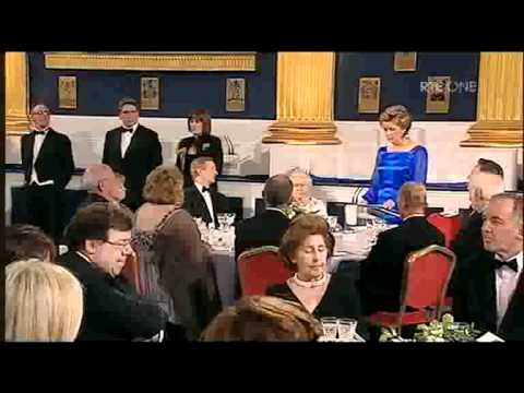 18th May 2011: In what is a symbolic visit by HM Queen Elizabeth II to Ireland, President McAleese addresses the guests at the Irish State Banquet held in ho...
