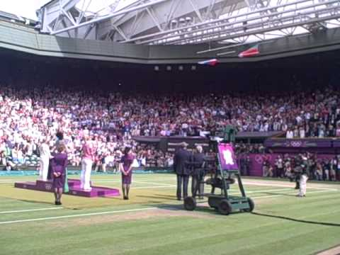 U.S. Flag Drops During National Anthem for Serena Williams' Olympic Gold Medal Ceremony at Wimbledon