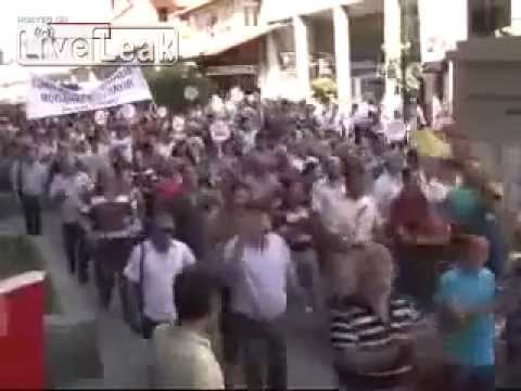 Turkish Protestors chanting Allah Syria Bashar