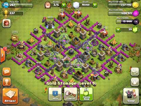 Town Hall Level 9 Farming (Under 200 Trophies Technique)HIgh level