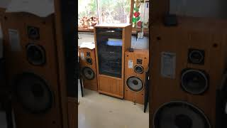 Lot 116:  Onkyo Stereo System in Cabinet, (2) Speakers, Stand at TexasBid.com