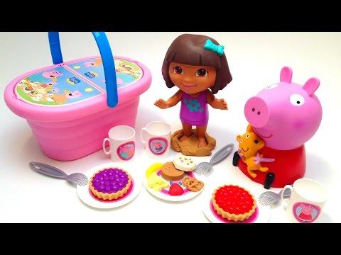 Play Doh Peppa Pig Picnic Basket Cesta De Picnic Dora The Explorer Cookie Monster Toys video