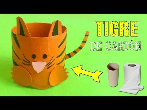 Tigre de cartón: Reciclaje de tubos de papel
