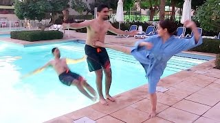 CRAZY GIRL KICKED ME INTO POOL !!!