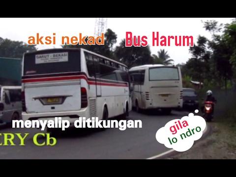 Nyaris!! Aksi nekad Bus menyalip diTanjakan kelok Cikalong_Harum vs Primajasa