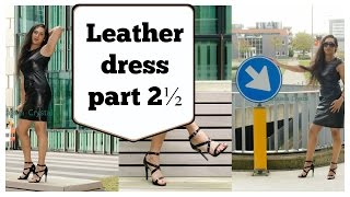 Crossdresser - leather black dress and high heel sandals - part 2 | NatCrys