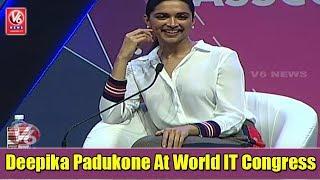 Deepika Padukone Participates In Q&A At World IT Congress | Hyderabad | V6 News