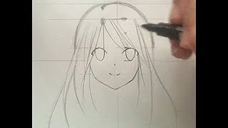 How to draw a girl anime face for beginners (slow tutorial)