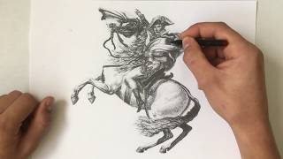 Drawing 'Napoleon crossing the Alps'