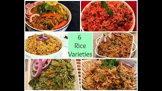 Variety Rice Recipes | 6 Different Pulao Recipes | One Pot meal | Lunch box Recipes | Rice Varieties