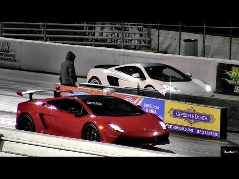 Lamborghini Gallardo LP570 v McLaren MP4-12C - 1/4 mile Drag Race Video - Road Test TV