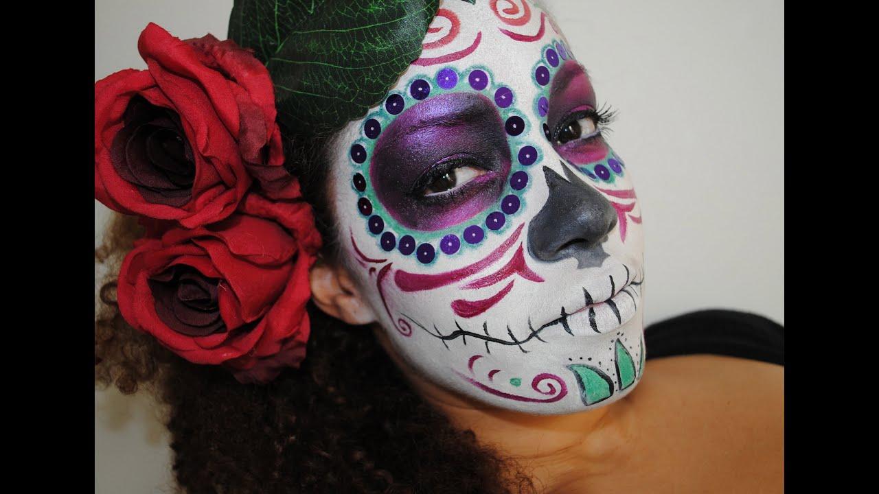 Halloween Partie 1 Maquillage El Dia De Los Muertos Make Up Youtube