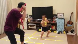 Ryusei(6year-old) action Nunchaku scene from Game Of Death