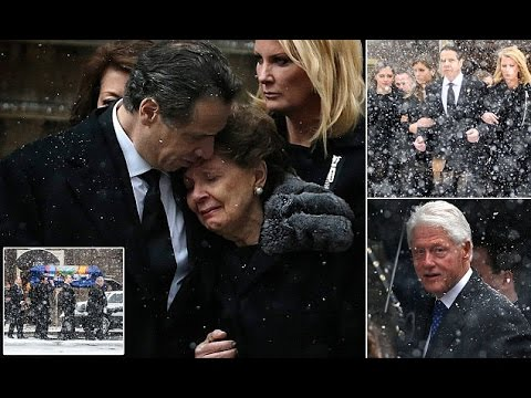 Governor Andrew Cuomo gives moving eulogy  father Mario's funeral as Bill and Hillary Clinton,