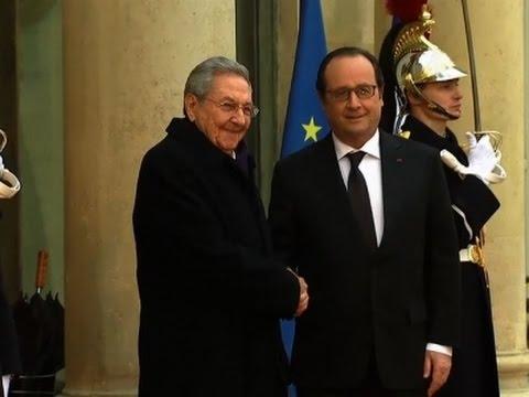 Raw: Cuba's Castro Meets with Hollande in Paris