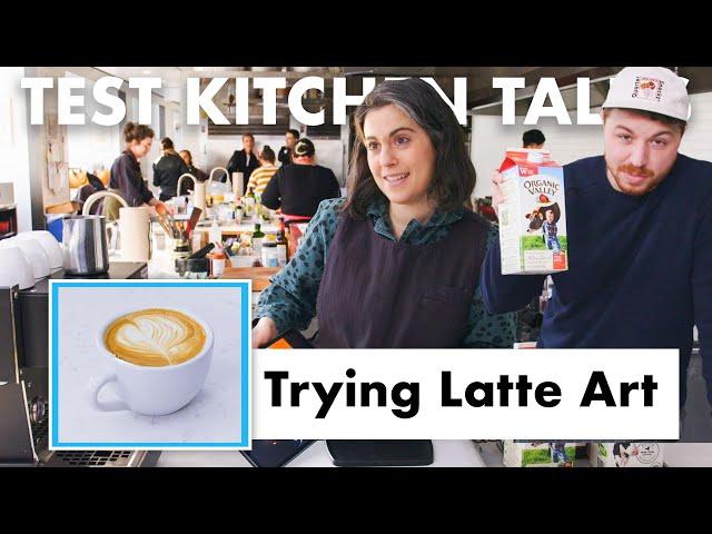Pro Chefs Try Latte Art | Test Kitchen Talks | Bon Appétit thumbnail
