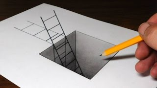 How to Draw a Ladder in a Hole - 3D Trick Art for Kids