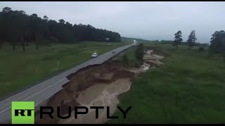 Russia: Giant sinkhole emerges after heavy flooding in Altai region