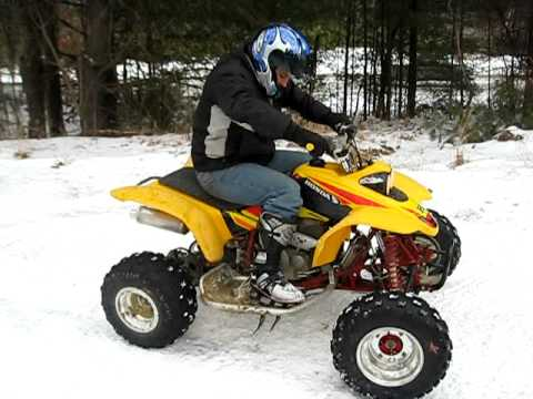 FIST DAY ON QUAD 400EX HONDA SNOW RIDING