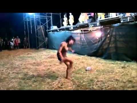 Crazy Asian girl dancing