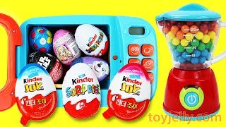 KINDER Chocolate Surprise Eggs Magical Microwave & Blender Toys Boys & Girls Unboxing Baby Toys