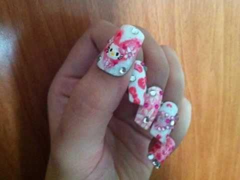 HELLO KITTY PINK WHITE HEARTS/BOWS NAIL ART Diseño de Uñas Moños y Corazones